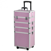 tinxs All in 1 Pro Large Aluminium Hairdressing Makeup Vanity Toiletry Storage Nail Case Box Beauty Cosmetics Trolley 4 in 1