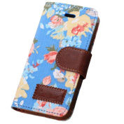 Ukamshop(TM)Blue Magnetic Wallet Floral Jacquard Leather Cover Case For iPhone 5C