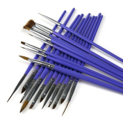 ARTE CLAVO 19 Nail Art Wooden Handle Brush Pen Acrylic DIY Kit Set Purple