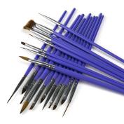 ARTE CLAVO 19 Nail Art Wooden Handle Brush Pen Acrylic DIY Kit Set Purple