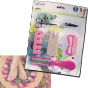 LADIES PEDICURE FEET FOOT CARE DRY SMOOTH SKIN BRUSH PUMICE BOARD NAIL CLIPPERS