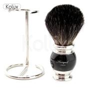 Men's Shaving Pure Black Badger Hair Shaving Brush,+ Free Brush Holder
