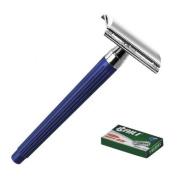 Baili ® Blue Diamond - Silver plated Double Edge Razor + 6 Spares