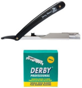 Cut Throat Shaving Set from Shaving Factory with a Straight Razor and 100 Derby Professional Single Edge Razor Blades