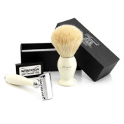 Haryali london Hand Assembled Sophist Collection Elegantly Designed White Badger Hair Shaving Brush With Safety Razor & Pack Of Wilkinson Blades.