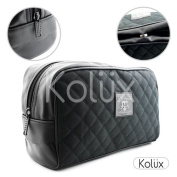 Mens Large Travel Toiletries Cosmetic Shaving Wash Bag Textile and Leather Made