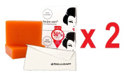 2x Kojie San Skin Lightening Kojic Acid Soap 2 Bars - 65g + 1 YouLookLight screen/ phone cleaning cloth