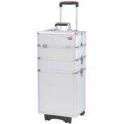 Beautify Professional Stylish Silver 4-in-1 Aluminium Cosmetics Case Beauty Trolley/Vanity Box