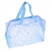 Portable Blue Soft Plastic Zipper Bath Wash Makeup Storage Bag Holder