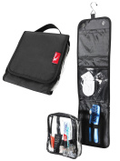 Wash Bag / Toiletry travel hook hang up case with 20x20x5cm detachable toiletry bag perfect for cabin hand luggage- black