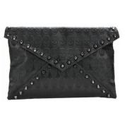 Faux Leather Skull Envelope Clutch Bag