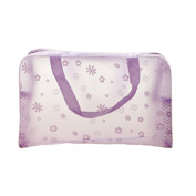 Floral Print Transparent Waterproof Cosmetic Bag Toiletry Bathing Pouch