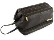 Mens Rowallan Brown Leather Top Frame Wash Bag Travel Toiletries Travel Stylish