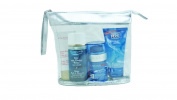Transparent Zipped Cosmetic Toiletry Bag. Silver