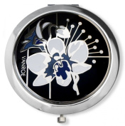 Vanroe 'Orchid in Black' Designer Enamel Compact Mirror in Gift Box - Bridesmaid Idea, British, Magnified, Engravable