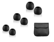 Thetransporter - 24 X Black Replacement Silicone In-Ear Earphone/Headphone Earbuds Tips Gels Rubber Spare All Medium Size + Free Leather Look Pouch