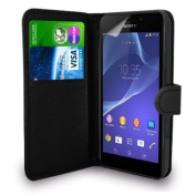 Sony Xperia M2 - Leather Wallet Flip Case Cover Pouch + Free Screen Protector + Free UK Delivery