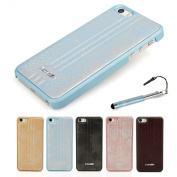 Madcase® Elegant Apple iPhone 5S / 5 Premium PU Leather Back Hardcase cover in Retail Pack including Screen Protector and Stylus Touch Pen - Ice Blue