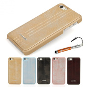 Madcase® Elegant Apple iPhone 5S / 5 Premium PU Leather Back Hardcase cover in Retail Pack including Screen Protector and Stylus Touch Pen - Gold