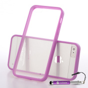 Madcase Apple iPhone 5s / 5 - Transparent Back Hardcase Soft TPU Gel Bumper Series Case including a Screen Protector and Stylus Touch Pen - Purple Bumper