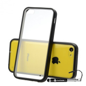 Madcase - Apple iPhone 5c - Clear Back Hardcase Soft TPU Gel Bumper Serices Case including a Screen Protector and Stylus Touch Pen - Black Bumper