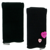Trendz Universal Smartphone Sock for iPhone, iPod and MP3 - Black with Pink Heart Buttons