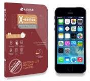 SAMAR® - Premium Quality Tempered-Glass Screen Protector for iPhone 5S / 5C / 5 [GLASS.X Series SLIM] (0.23mm) Ultra Thin Lightweight Rounded Edge Hardness up to 9H (harder than a knife) - Includes Microfiber Cleaning Cloth