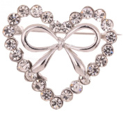 Yazilind Jewellery Silver Plated Heart Full Crysatl Inlay Bowknot Shape Charm Brooches and Pins for Women