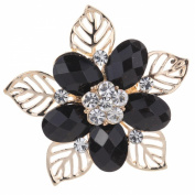 Yazilind Jewellery Sweet Full Crystal Crystal Flower Hollow Leaves Gold Plated Brooches and Pins