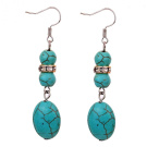 Yazilind Jewellery Charming Tibetan Silver Crystal Oval Rimous Turquoise Drop Dangle Earrings