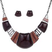Yazilind Vintage Ethnic Tibetan Sliver Red Turquoise Bib Collar Earrings Necklace Jewellery Set Women
