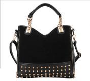 . Fashion Women Hobo Top Double Handle Rivet Studded Handle Satchel Purses Medium Handbag-Black