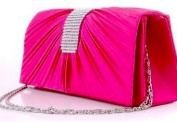 NEW WOMENS SATIN DIAMANTE LADIES PLEATED WEDDING BRIDAL PROM HANDBAG CLUTCH BAG