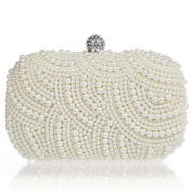 New Square Creamy Gorgeous Pearl BridalWedding /Prom Evening Clutch Bag