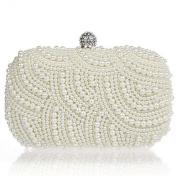 New Square Creamy Gorgeous Pearl BridalWedding /Prom Evening Clutch Bag