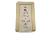 BABY CHANGING MAT - KEEP CALM & CHANGE MY BUM - NEUTRAL COLOUR - UNISEX - LUXURY PADDED & WATERPROOF