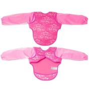 Bibetta Baby Bib Neoprene Ultrabib with sleeves in Pink Butterfly