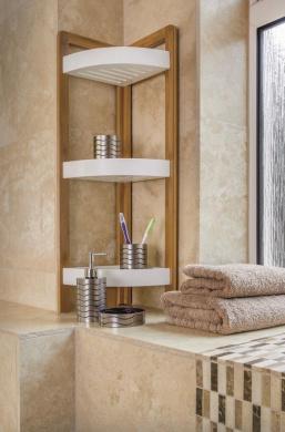 bamboo 3 tier bathroom free standing shower corner caddy. Black Bedroom Furniture Sets. Home Design Ideas