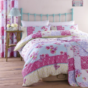 Catherine Lansfield Gypsy Floral Patchwork Print Cotton Rich Designer Bedding Duvet Quilt Cover Set, Multi Pink / Blue - Single Size