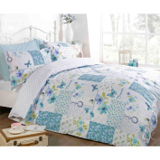 BUTTERFLY FLORAL PATCHWORK DUVET COVER - Reversible White Teal Blue Bedding Set Teal Blue & White Double Duvet Cover