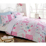 BUTTERFLY FLORAL PATCHWORK DUVET COVER - Reversible White & Pink Bedding Bed Set Pink & White Double Duvet Cover