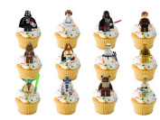24 x Lego Star Wars Figures STAND UP STANDUPS Fairy Muffin Cup Cake Toppers Decoration Edible Rice Wafer Paper