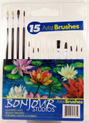 Assorted Sizes Quality Artist Paint Brushes 15 Piece Set