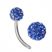 Thenice 14g Multi Crystal Double Ball Navel Ring Ball Body Piercing