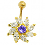 Thenice 14g Gold Crystal Flower Navel Rings Stud Body Piercing