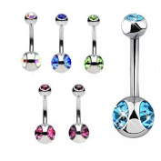 Thenice 6 Pcs 14g Double Gem Body Piercing Navel Ring