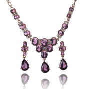 Black Austrian Crystal 18k Gold Plated Jewellery Set with Drop-shaped Pendant for Evening/ Wedding Gown