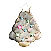 Mother of Pearl. Elements White Star Christmas Tree Design Shell Brooch Pin