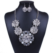 Winson Fashion Jewellery Set Handmade Rhinestone Pearl Statement Collar Necklace Earring