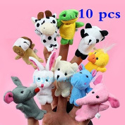 10x Cartoon Biological Animal Finger Puppet Plush Toys Child Baby Favour Dolls #1